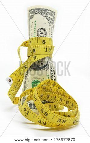 One Dollars Us Money In Measuring Tape