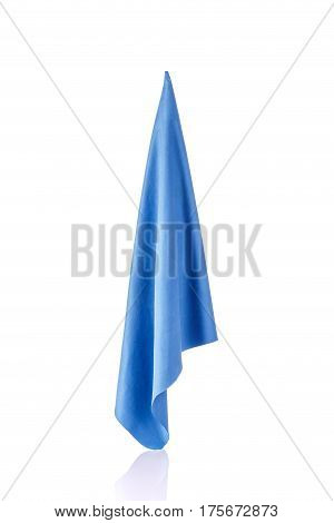 New Blue Microfiber Cloth For Cleaning. Studio Shot Isolated On White