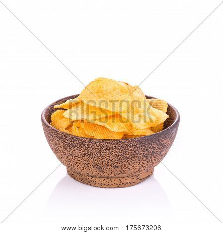 Potato Chips. Studio Shot Isolated On White