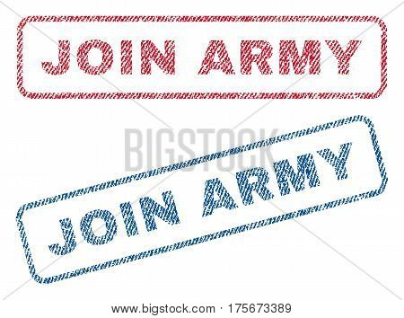 Join Army text textile seal stamp watermarks. Blue, red fabric vectorized texture. Vector caption inside rounded rectangular banner. Rubber sign with fiber textile structure.