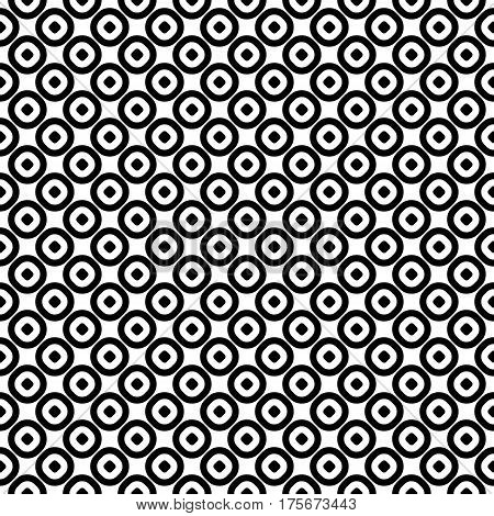 Vector seamless pattern, monochrome polka dot texture. Simple geometric background with staggered perforated circles, black & white abstract design. Element for prints, decor, textile, cloth, wrapping