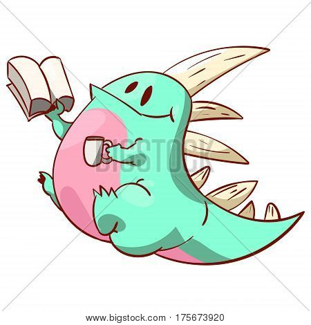 Colorful vector illustration of a cute dinosaur or a dragon reading a book and having a cup of coffee or tea