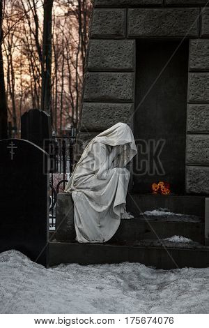 MOSCOW, RUSSIA - MAR 8, 2017: German cemetery(Vvedenskoye cemetery) is a historical cemetery in the Moscow district of Lefortovo