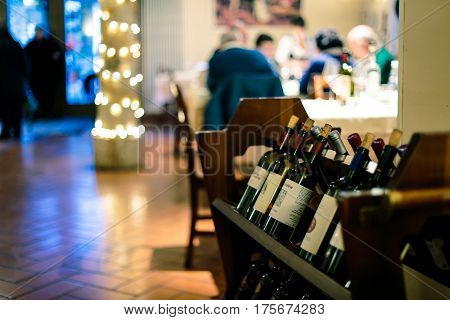 Bottles Of Wine In The Resaurant