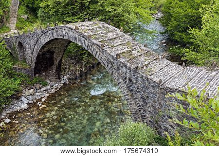 Traditional old stone bridge in Epirus, Greece