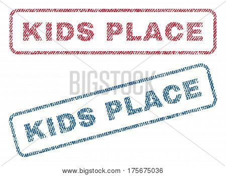 Kids Place text textile seal stamp watermarks. Blue, red fabric vectorized texture. Vector tag inside rounded rectangular shape. Rubber emblem with fiber textile structure.