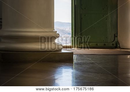 Door Entrance Light Streaming Door Column Old Base European Outside Bright Indoors Looking Out Inter