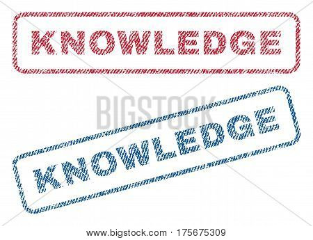 Knowledge text textile seal stamp watermarks. Blue, red fabric vectorized texture. Vector tag inside rounded rectangular shape. Rubber sign with fiber textile structure.