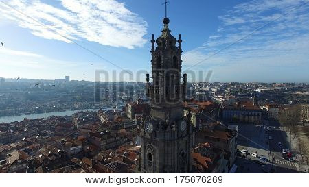Aerial View of Clerigos Church in Porto, Portugal