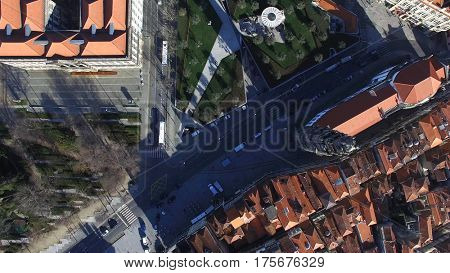 Top View of Clerigos Church in Porto, Portugal