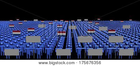 Crowd of people with signs and Netherlands flags 3d illustration