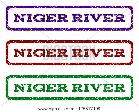 Niger River watermark stamp. Text tag inside rounded rectangle with grunge design style. Vector variants are indigo blue, red, green ink colors. Rubber seal stamp with scratched texture.