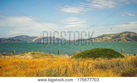 Beach at Presidio Alcatraz Island San Francisco Bay