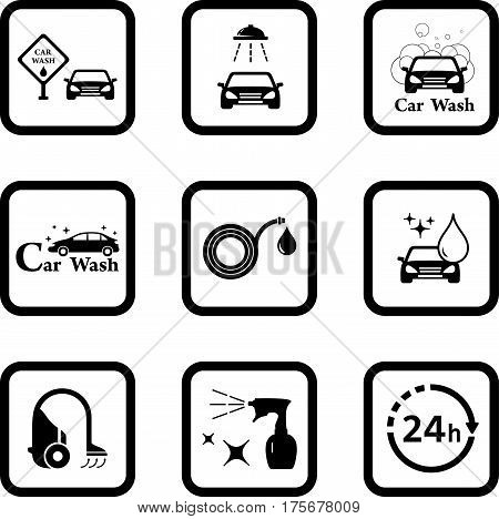 car wash black icon set for cleaning car services