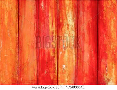 Orange old peeling paint wooden background texture