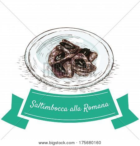 Saltimbocca alla Romana colorful illustration. Vector illustration of Italian cuisine.