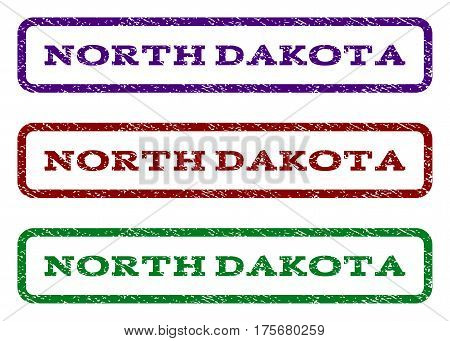 North Dakota watermark stamp. Text tag inside rounded rectangle frame with grunge design style. Vector variants are indigo blue, red, green ink colors. Rubber seal stamp with unclean texture.