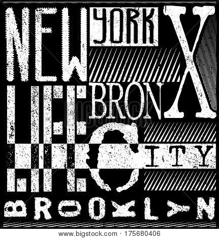 New York typography t-shirt graphics. vector illustrations.