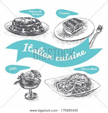 Monochrome vector illustration of Italian cuisine and cooking traditions.