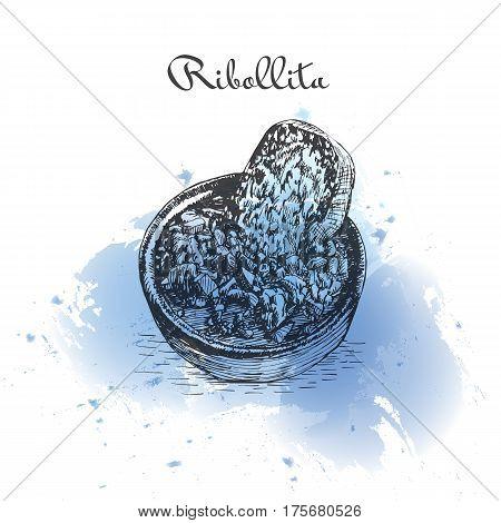 Ribollita watercolor effect illustration. Vector illustration of Italian cuisine.