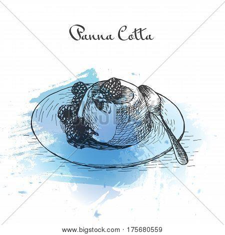 Panna Cotta watercolor effect illustration. Vector illustration of Italian cuisine.
