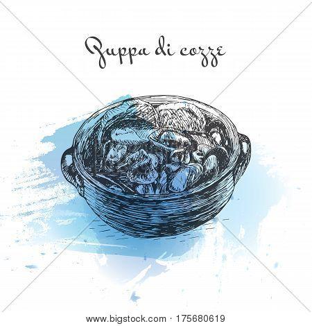 Zuppa di cozze watercolor effect illustration. Vector illustration of Italian cuisine.