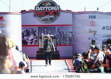 February 26, 2017 - Daytona Beach, Florida, USA: Mario Andretti gets introduced to the crowd for the Daytona 500 at Daytona International Speedway in Daytona Beach, Florida.