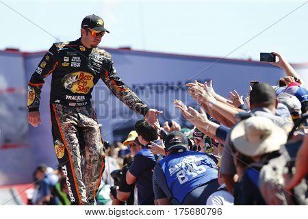 February 26, 2017 - Daytona Beach, Florida, USA: Martin Truex Jr. (78) gets introduced to the crowd for the Daytona 500 at Daytona International Speedway in Daytona Beach, Florida.