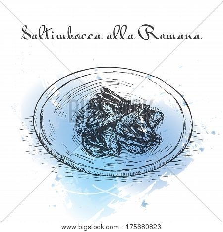 Saltimbocca alla Romana watercolor effect illustration. Vector illustration of Italian cuisine.