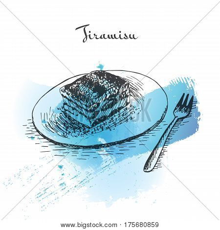 Tiramisu watercolor effect illustration. Vector illustration of Italian cuisine.
