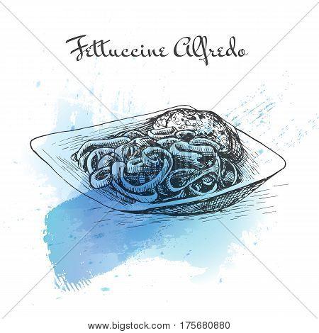 Fettuccine Alfredo watercolor effect illustration. Vector illustration of Italian cuisine.