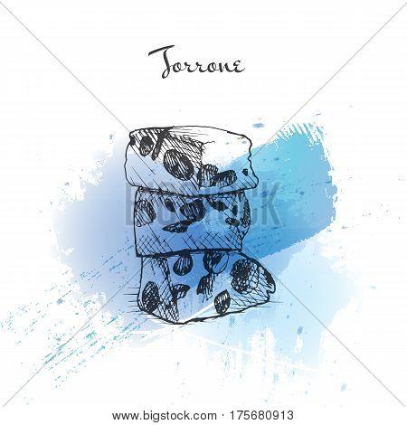 Torrone watercolor effect illustration. Vector illustration of Italian cuisine.