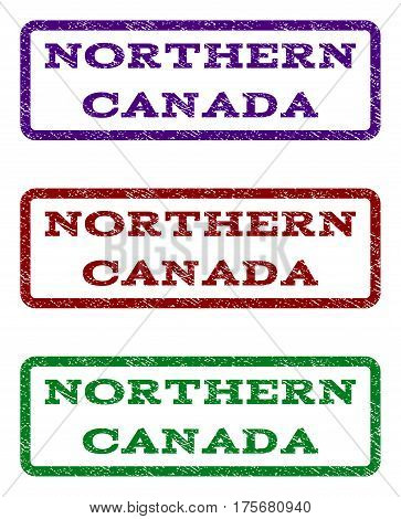 Northern Canada watermark stamp. Text tag inside rounded rectangle frame with grunge design style. Vector variants are indigo blue, red, green ink colors. Rubber seal stamp with dirty texture.