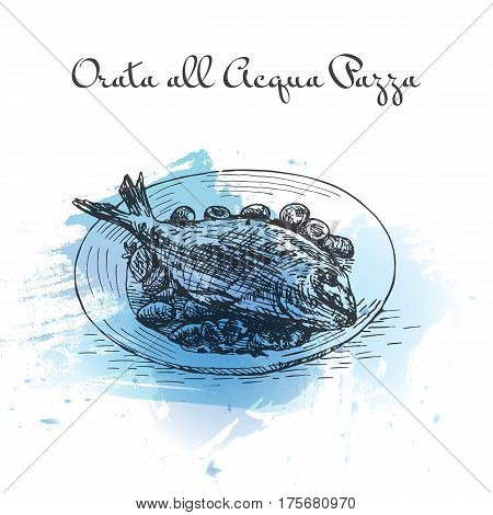 Orata All'Acqua Pazza watercolor effect illustration. Vector illustration of Italian cuisine.