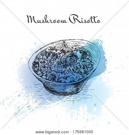 Mushroom Risotto watercolor effect illustration. Vector illustration of Italian cuisine.