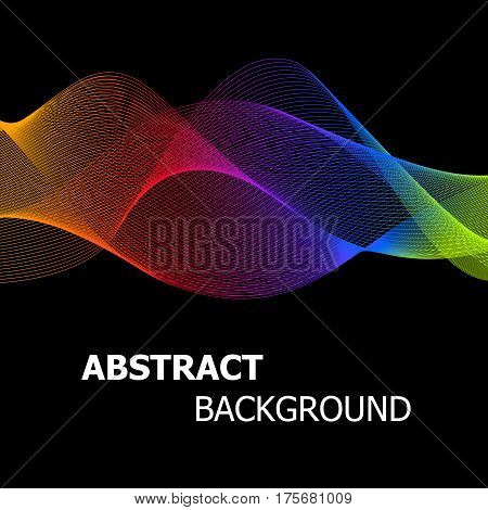 Abstract colourful lines wave background, stock vector
