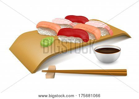 Sushi Set tuna, salmon and shrimp nigiri on wooden board block. Serving with chopsticks, wasabi and soy sauce for one person. Collection of Japanese traditions vector objects in realistic style.