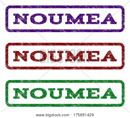 Noumea watermark stamp. Text tag inside rounded rectangle frame with grunge design style. Vector variants are indigo blue, red, green ink colors. Rubber seal stamp with scratched texture.