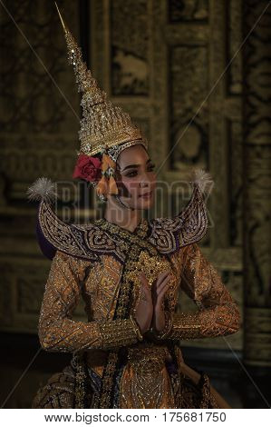 The pantomime (Khon)Thai traditional dance is preserving traditionsRamayana dance drama.