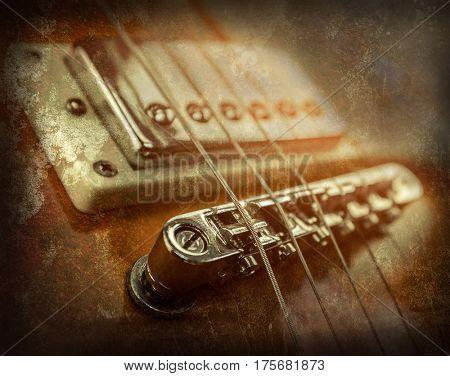 Rock guitar. Close-up view part of guitar