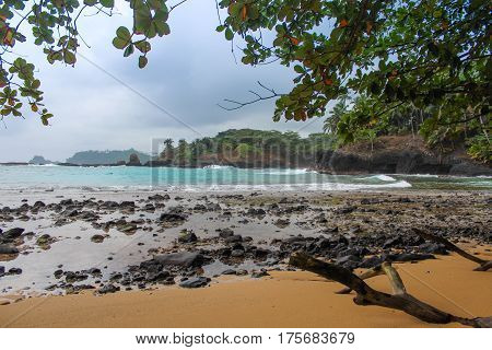 The Beautiful Beach Piscina In Island Of Sao Tome And Principe - Africa