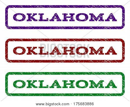 Oklahoma watermark stamp. Text caption inside rounded rectangle with grunge design style. Vector variants are indigo blue red green ink colors. Rubber seal stamp with scratched texture.