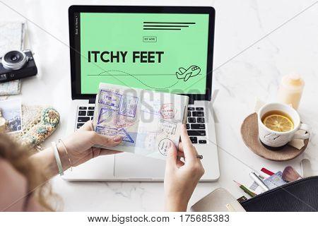 Itchy feet travel plane symbol