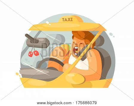 Taxi driver driving. Talking on phone and eating burger. Vector illustration