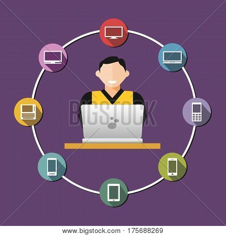 Communication between devices concept illustration. Distributed system. Administrator. IT Helpdesk