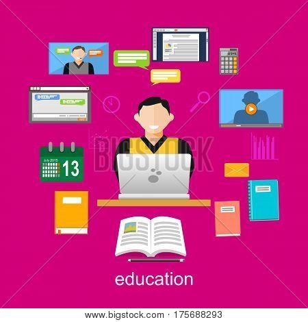 Online education illustration. Flat design illustration concepts for e-learning internet education. internet tutorial online studying.