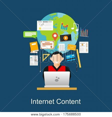 Internet content , web content , search engine  . Online Multimedia concept
