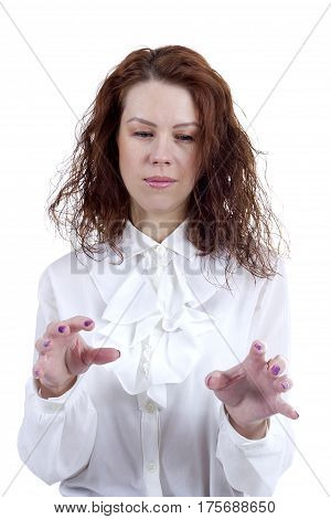 Woman shows a rotational motion of a hand on a white background