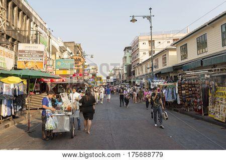 BANGKOK THAILAND - MAR 3 : marketplace scene in Khao San road on march 3 2016. Khao San road is tourist hub of Bangkok.