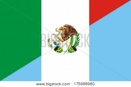 mexico guatemala neighbor countries half flag symbol